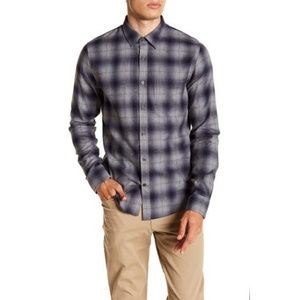 Vince Window Shadow Plaid Trim Fit Men's Shirt